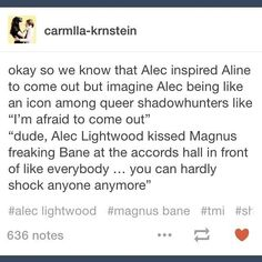 """""""Alec Lightwood kissed Magnus Bane in front of everyone at his own wedding to Lydia Branwell!""""<< this is obviously the books, not the show Mortal Instruments Books, Shadowhunters The Mortal Instruments, Shadowhunter Academy, Cassie Clare, Shadowhunters Tv Show, Cassandra Clare Books, Alec Lightwood, Clace, The Dark Artifices"""
