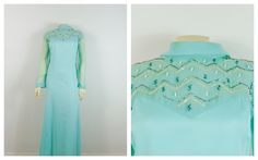 Vintage Dress Plus Size Aqua Blue Formal Gown Beaded Sequin Accent Sheer Chiffon Sleeves Satin Body Size - by on Etsy Vintage Evening Gowns, Vintage Prom, Vintage Dresses, Vintage Outfits, Vintage Fashion, 60s Dresses, Etsy Vintage, Plus Size Formal, Formal Gowns