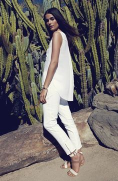 Summer Outfit - White NYDJ sleeveless Henley blouse and ankle length pants