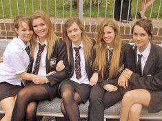 Blush Flower Girl Dresses, Cute Girl Dresses, Girl Outfits, School Uniform Outfits, Cute School Uniforms, British School Uniform, Cute Tights, Black Tights, School Girl Dress