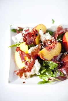 Peach, Jamón ibérico & Buffalo Mozzarella salad - or, how to put all of the best things on Earth on one plate