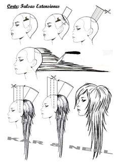 diagram long layered haircut - Google Search