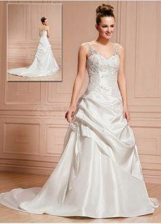 Love this too  A-line Sweetheart Chapel Train Taffeta Satin Wedding Gown