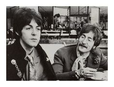 Beatles Paul McCartney & John Lennon having a tea break!