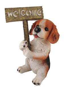 "15.5"" LED Lighted Solar Powered Light Puppy Dog with Welcome Sign Figure"