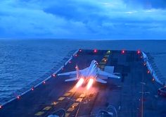 MIG-29K maritime combat aircraft taking off from Indian Navy's aircraft carrier INS Vikramaditya (R33).