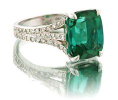Green Tourmaline and Diamonds in 18K White Gold