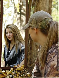 "Senior picture one of a kind small camo looking into mirror image photo ""i am me"""