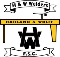 Harland & Wolff Welders of Belfast, Northern Ireland crest. British Football, Football Team Logos, Crests, Northern Ireland, Belfast, Badges, Irish, Soccer, San