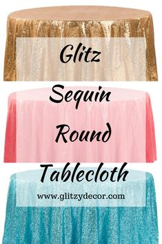 If you are looking for a fabulously chic way to spruce up your wedding or event, these glitter sequined tablecloths are the best place to start! Whether used for anniversaries, wedding, baby shower, birthday parties, or bachelorette parties, these tablecloths will give your event an unbelievably glitzy transformation. Sequin Tablecloth, Round Tablecloth, Tablecloths, Bachelorette Parties, The Good Place, Birthday Parties, Sequins, Glitter, Baby Shower