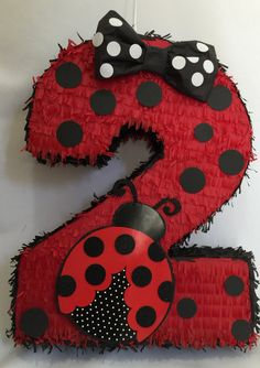 Large Number Two Pinata 24 Ladybug Theme
