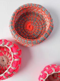 DIY Neon Fabric Coil Bowls