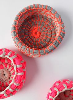 DIY Neon Fabric Coil Bowls