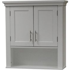 Bathroom Wall Cabinet in White Wood Finish with Bottom Storage ...