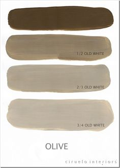 Varying tints possible with Chalk Paint® decorative paint by Annie Sloan. A combination of Olive & Old White by Ciruelo Interiors.