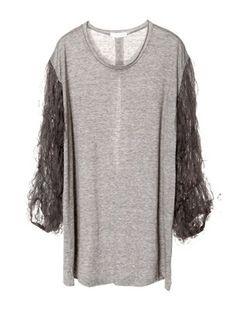 Grey Mesh Puff Half Sleeve Neck Cotton T-shirt