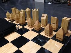 Art Deco Wooden Modern Set of Chess | eBay