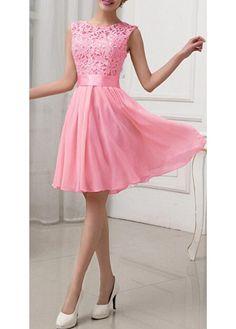 Fashion Lace Splicing Chiffon Knee Length Dress - Rose on Luulla