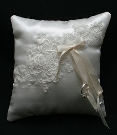 Antique White Satin Ring Bearer Pillow with by AddLoveAccessories, $40.00