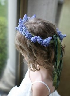 Muscari flower crown for a spring wedding flower girl Blue Wedding, Wedding Bells, Spring Wedding, Color Splash, Color Pop, Color Blue, Flower Girl Crown, Flower Girls, Flower Crowns