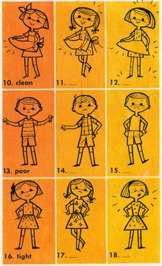 illustrations from Basic Spelling Goals (Grade Hehe. Clean, poor and tight :/ Illustrations Vintage, Children's Book Illustration, Character Illustration, Retro Kids, Retro Art, Vintage Children's Books, Vintage Art, Retro Cartoons, Mellow Yellow