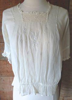 Authentic RARE  Victorian Era Embroidered Gauzy Cotton & Crochet Lace Blouse