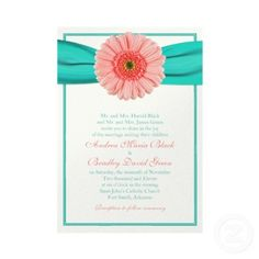 Coral and Turquoise Wedding Invitations <3