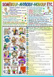 English worksheet: SOMEBODY-SOMETHING-SOMEWHERE.ANYBODY-ANYTHING-ANYWHERE-NOBODY-NOTHING-NOWHERE -GRAMMAR AND EXERCISES (B&W VERSION+KEY INCLUDED)