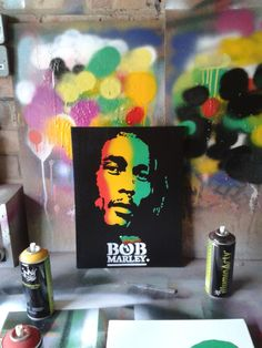 Bob Marley painting on canvasstencils & by AbstractGraffitiShop