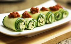 Cucumber Roll-Ups with Sun Dried Tomato Sauce