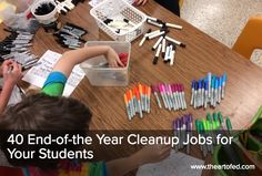 The Art of Ed - 40 End-of-the Year Cleanup Jobs for Your Students