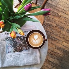 such a cute coffee picture! Flat white, flowers and the news paper. www.skinnycoffeeclub.com. In need of a detox? Join the Skinny Coffee Club and get 10% off with the code PINTEREST10