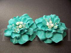 Turquoise Something Blue Gardenia Bridal Shoe Clips Wedding Accessories Freshwater Pearls Swarovski Crystals, Set of 2