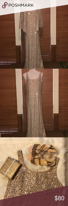 Alex Evening Gown Beautiful rose gold sequin long dress. Sleeveless dress with a separate jacket. Would be perfect for Gala or mother of the bride! Matching shoes and purse are also available in my closet. Alex Evenings Dresses Prom
