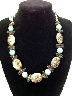 Chunky Pyrite, Smoky quartz and turquoise gemstone necklace - Michela Rae