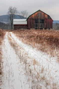 'Old Rustic Barn and Snow' Photographic Print by Michael Mill A winter snow scene of a rustic old barn. Farm Barn, Old Farm, Country Barns, Country Roads, Old Country Houses, Big Country, Country Living, Barn Pictures, Barns Sheds