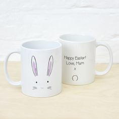 A fun Easter bunny face mug. With his cute pink nose and ears this bunny has plenty of character making him the perfect gift for kids of adults this Easter