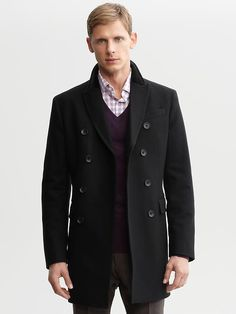 Banana Republic: Black wool-blend double-breasted topcoat