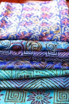 Don't want to chase these blues away! Modern kantha work on silk!   #kantha #RiitiFashions #silk