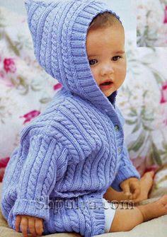 Размеры: 62-68 (74-80) 86-92 Вам потребуется: 300 (350) 450 г голубой пряжи Baby Cashmerino (55% мериносовой шерсти, 33% микроволокна, 12% кашемира, 125 м/50г); прямые спицы № 2, 5 и 3 , 5 ;
