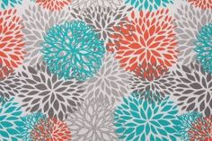 Premier Prints Blooms Outdoor Fabric in Pacific $8.95 per yard