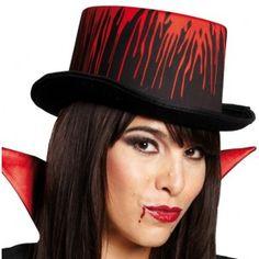 Chapeau Haut de Forme Blood Noir Adulte avec Faux Sang, bal des Vampires, Halloween, fêtes.