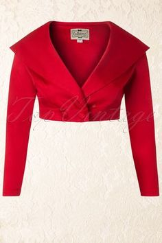 Gilda Cropped Jacket in Red Collectif Clothing - Gilda Cropped Jacket in Red 1950s Outfits, Stylish Blouse Design, Blazer Outfits, Indian Designer Wear, African Fashion, Blouse Designs, Mantel, Fashion Outfits, Clothes For Women