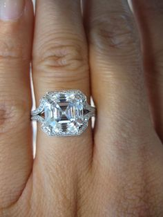 Ill take one of these. Gorgeous stone cut. Asscher cut stones, may be my favorite cut of all.