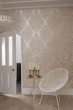 Zellige by Prestigious is a large scale hand printed effect #damask #wallpaper design.