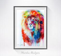 Lion Aquarellzeichnung drucken Löwe Kunst Kunst von SlaviART