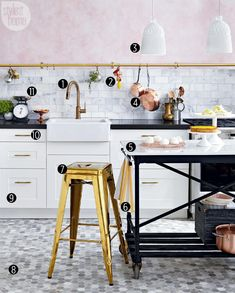 We designed a Parisian-style kitchen to please any mixed metal lover. Can you tell which is the high and which is the low? (LOW)