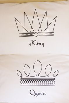 Pillowcase set featuring king and queen graphics and by uppercases, $32.00