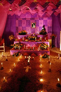 Altar with flower petal carpet by Lelonopo, via Flickr. Extensive use of paper as well as fabric for this Dia de Los Muertos altar foundation.
