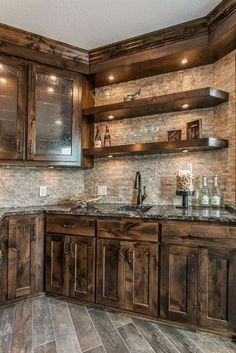 : Rustic Kitchen Ideas - Surf images of rustic kitchen styles. Discover ideas for your mountain style kitchen remodel or upgrade with ideas for storage space, company, layout and . Rustic Kitchen Design, Farmhouse Kitchen Cabinets, Modern Farmhouse Kitchens, Kitchen Cabinet Design, Home Decor Kitchen, Country Kitchen, Kitchen Ideas, Kitchen Counters, Kitchen Inspiration